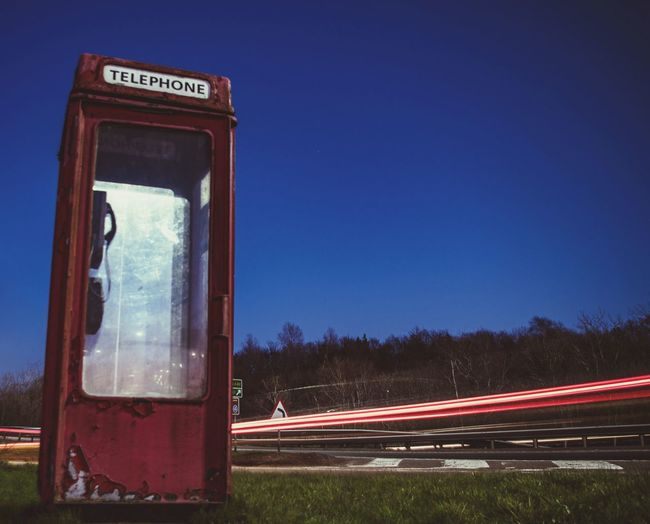 Phone Home Clear Sky Blue Sky Light Trail Speed Elevated Road Tail Light Highway Vehicle Light Vehicle Traffic Telephone Booth Long Exposure Light Painting Headlight