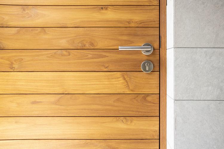 Wooden door at home
