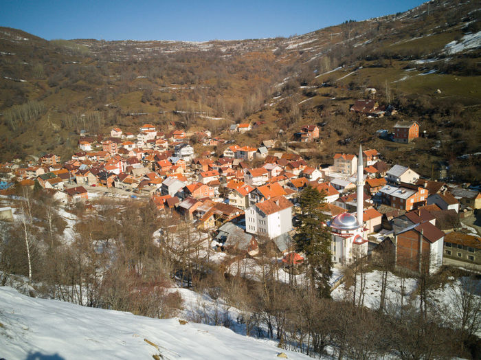 Houses in town during winter
