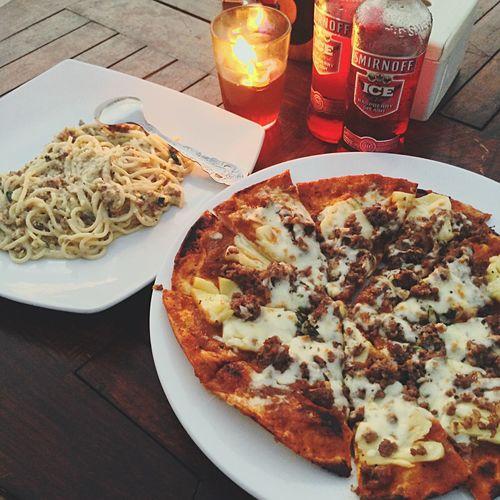 Pizza Sphagetti Dinner Jimbaran Food Foodphotography IPhoneography Beer