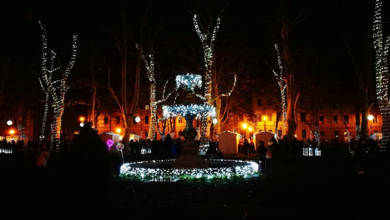 night, illuminated, celebration, large group of people, real people, lifestyles, leisure activity, built structure, women, men, christmas decoration, vacations, architecture, outdoors, tree, people