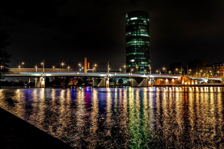 Westhafen in Frankfurt Frankfurt Built Structure Architecture Water Illuminated Building Exterior Night Reflection Sky City Nature River Bridge Outdoors Building Waterfront Tall - High No People Bridge - Man Made Structure Modern Travel Destinations