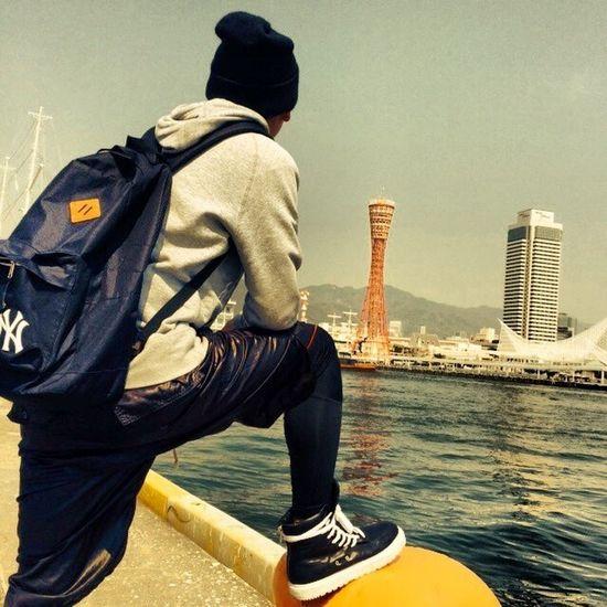 神戸めっちゃきれいで天気ええなぁKobe Umie Sea RickOwens KVAsneakersGIVENCHY