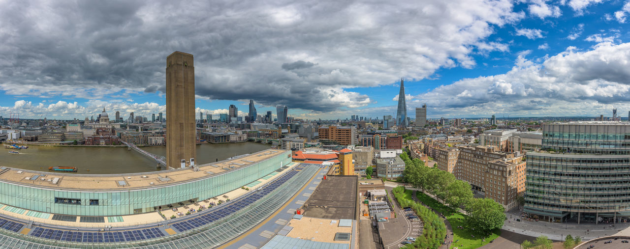 Panoramic view of the City of London Architecture Building Exterior Capital City City Life Cityscape Elevated View England Landscape London Modern No People Outdoors Panorama Sky South Bank St. Pauls Cathedral  Tate Tate Modern Travel Destinations View A Bird's Eye View London Lifestyle