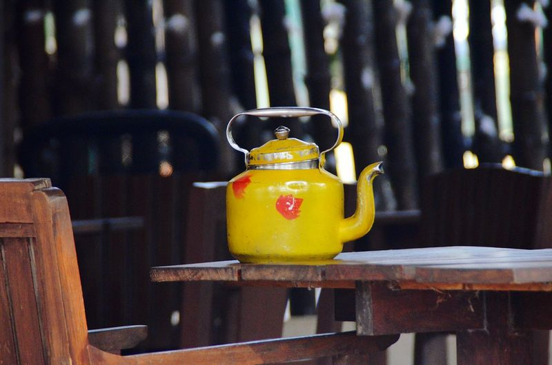 Close-up of kettle on table
