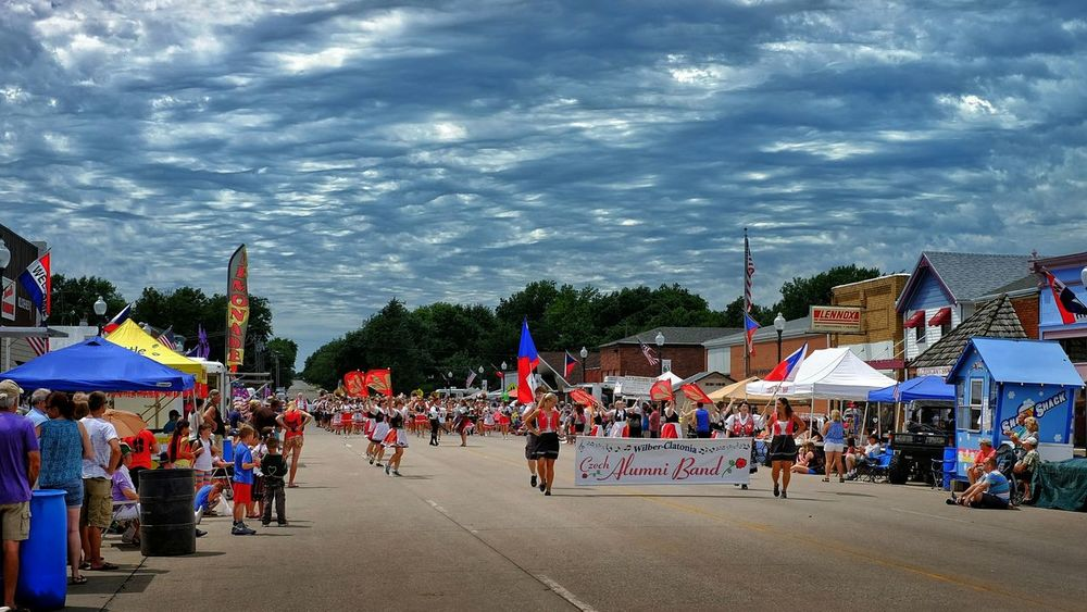 Czech Festival Small Town USA Marching Band Brass Band Parade Sky And Clouds