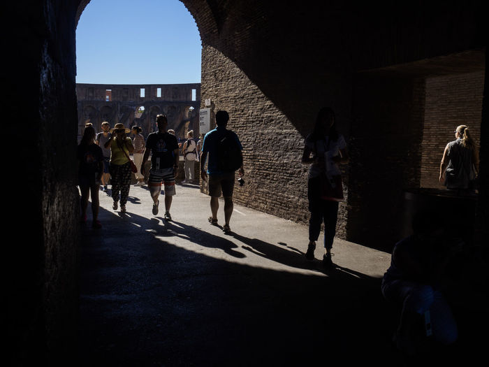 tourists in the Colosseum Rome Architecture Built Structure Colosseum Historic History International Landmark Italy Rome Street Tourism Tourist Travel Destinations Vacations