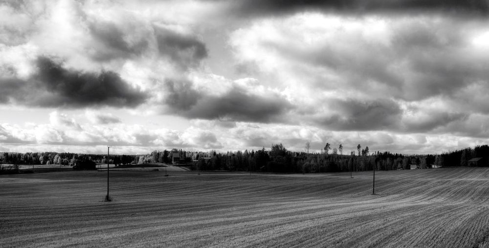 Field Field Blackandwhite Black And White Black & White Blackandwhite Photography Sky Clouds Suomi Finland Landscapes With WhiteWall Monochrome Photography MonochromePhotography