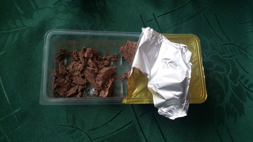 Greek Dessert Halva With Chocolate High Angle View No People OpenEdit Ate Close-up Day Crumpled Paper Indoors  Crumpled Boring Picture