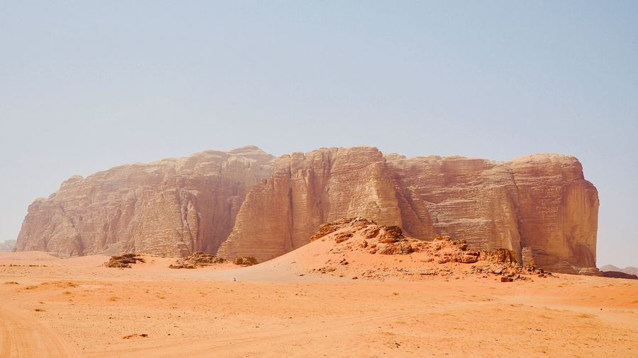 WADI RUM Sky Rock Rock Formation Beauty In Nature Desert Land Rock - Object Clear Sky Landscape Nature Mountain Peak Wadi Rum ヨルダン ワディラム 中東 砂漠