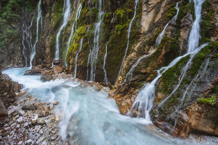 Wimbachklamm gorge wich beautiful water streams near berchtesgaden, bavaria, germany.