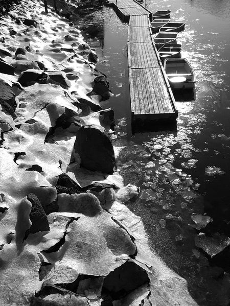 Perkins Cove (Ogunquit, ME) Moored Boats Boats And Moorings Floating Ice Water Day Marginal Way Outdoors Tranquility Scenics Cold Temperature Sunlight Reflections Dock B&w Edit EyeEm Best Shots - Black + White