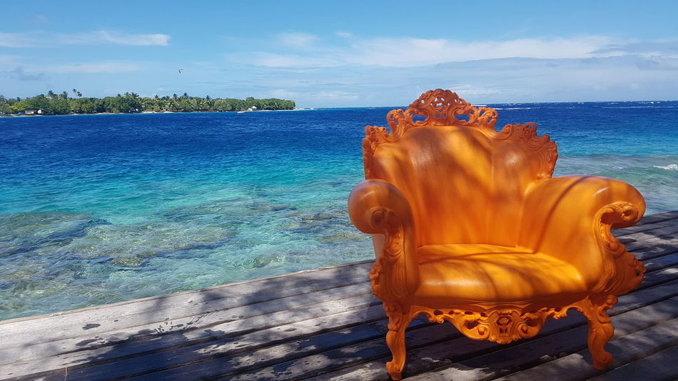 Sea No People Travel Destinations Blue French Polynesia Orange Color Chair Water Summer Tourism Vacations Maupiti