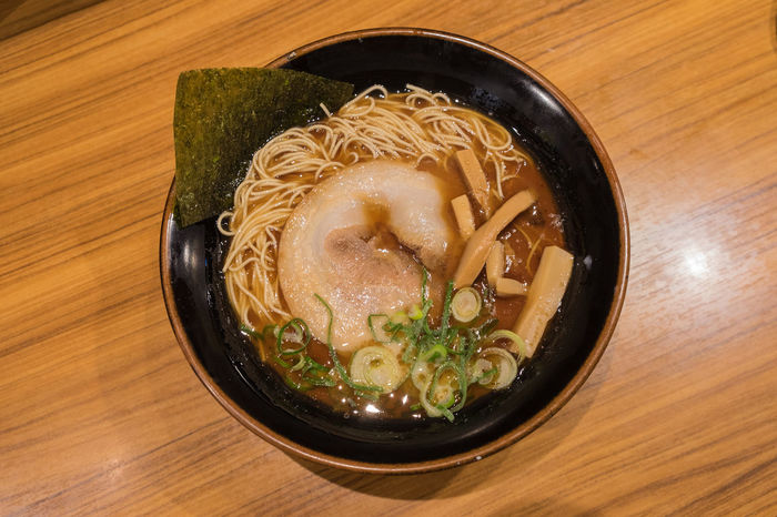 Soba noodle in a seaweed with pork Japanese Tone Bowl Chopsticks Close-up Day Food Food And Drink Freshness Healthy Eating High Angle View Indoors  Japanese Food No People Noodle Soup Ramen Noodles Ready-to-eat Soup Soup Bowl Table