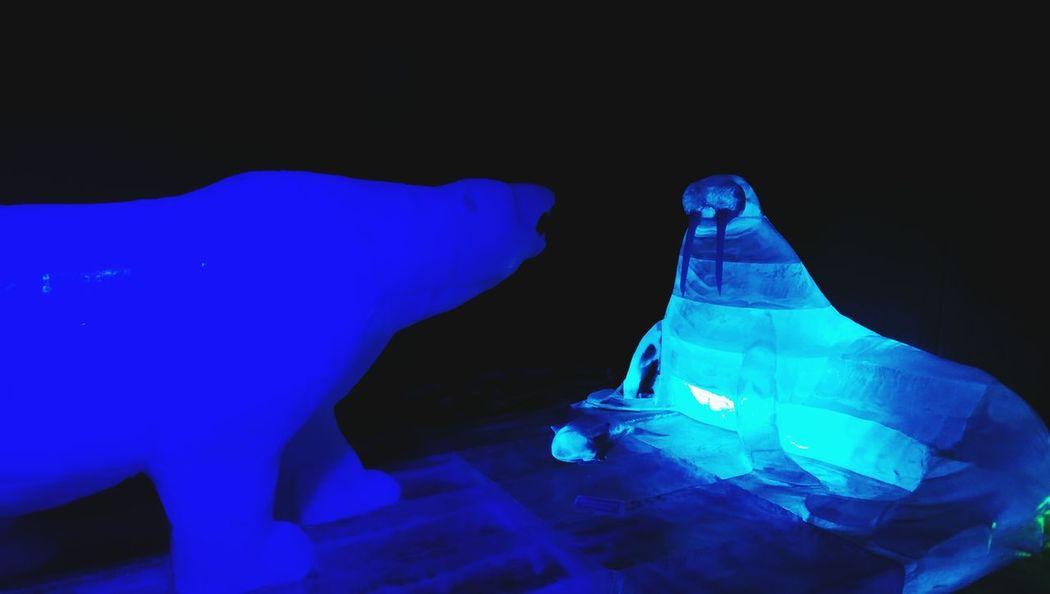 Blue Dark Ethereal Darkroom Man Made Object Tranquility Ice Sculpture Park Ice Sculpture Ice Sculpture Creativity Geometric Shape