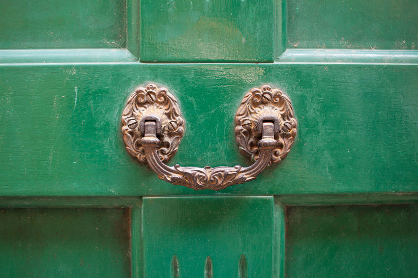 Close-up Day Door Door Handle Door Knocker Green Color Metal No People Outdoors Wood - Material