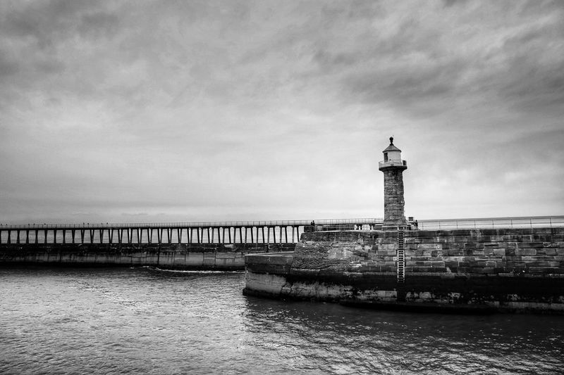 Whitby Whitby Whitby Abbey Built Structure Sky Architecture Water Tower Building Exterior Guidance Lighthouse Waterfront Sea Cloud - Sky Nature Direction Building Security Safety Protection Day No People Outdoors