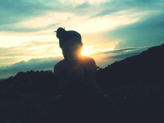 Light, sun, sunset, girl, nature, mountain
