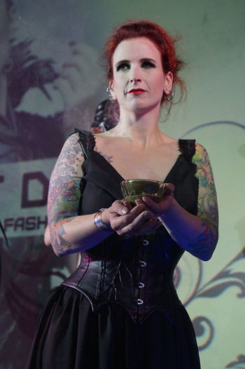 Beautiful Woman Fashion Fashion Show Front View Goth Gothic Style Holding Indoors  Lifestyles Mera Luna Festival One Person Portrait Posing Real People Standing Tattoo