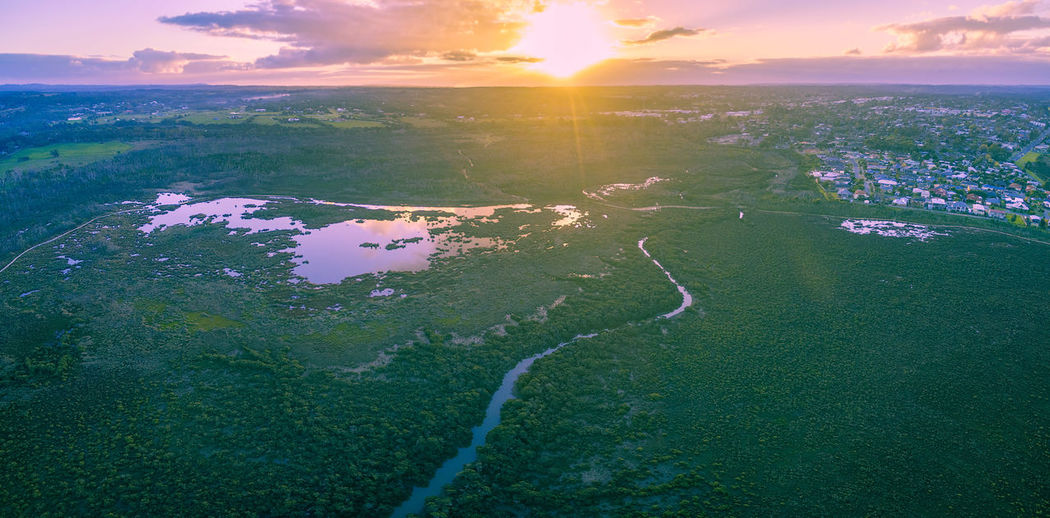 Aerial panorama of mangroves and beautiful rural area at sunset. Melbourne, Australia Australia Australian Australian Landscape Drone  Panorama Panoramic Travel Adventure Aerial Aerial Landscape Aerial View Beauty In Nature Cloud - Sky Dawn Day Drone Photography Dronephotography Dusk Horizon Over Water Landscape Melbourne Mountain Nature No People Outdoors Rural Scene Scenics Sea Sky Sunlight Sunrise Sunset Tranquil Scene Tranquility Travel Destinations Travel Locations Tree Water Westernport