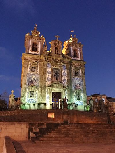 Architecture Building Exterior Built Structure Travel Destinations Religion Place Of Worship Low Angle View Outdoors Clear Sky Spirituality History Illuminated Sky No People City Night Cultures Portugal Oporto Frainf Igreja Santo Idefonso Church Your Ticket To Europe