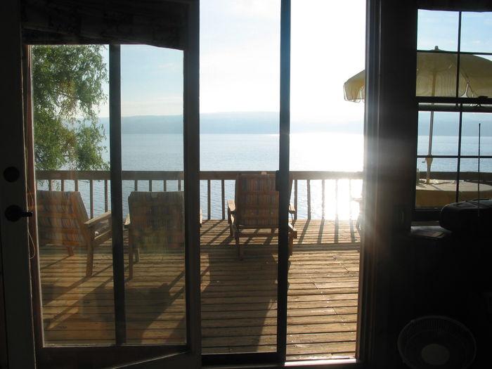 View of sea through window