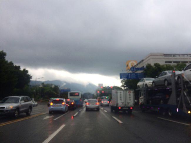 Cars Road Asphalt Texi Cloudy Rainy Days Raindrops In Car South Korea