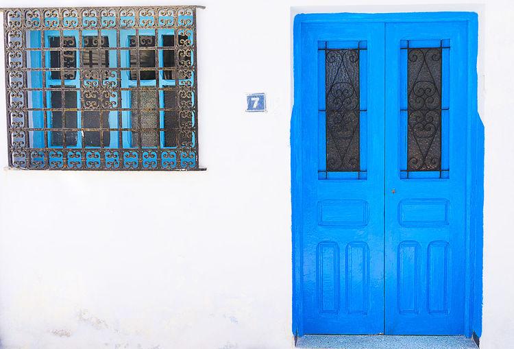 Architecture Blue Building Exterior Built Structure Closed Closed Door Day Door Entryway Front Door Safety Simplicity Tunisia