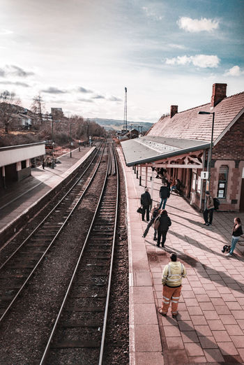 Newtown station in the morning Long Shadows People Watching People Standing Yellow Jacket Golden Hour Wales UK Victorian Architecture Mobile Mast Sunlit Waiting For A Train Cold Temperature Winter Railroad Track Train - Vehicle Rail Transportation Railroad Station Railroad Station Platform Public Transportation Station Platform Commuter Rush Hour Passenger