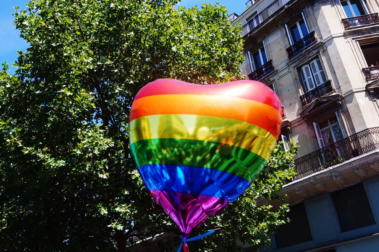 Low angle view of rainbow balloon against tree and building