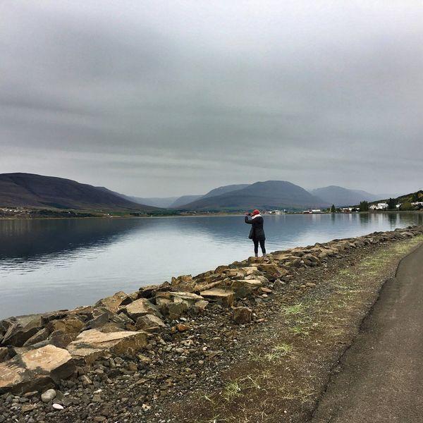 Girl At A River River Icelandic Nature Explorer Female Traveler