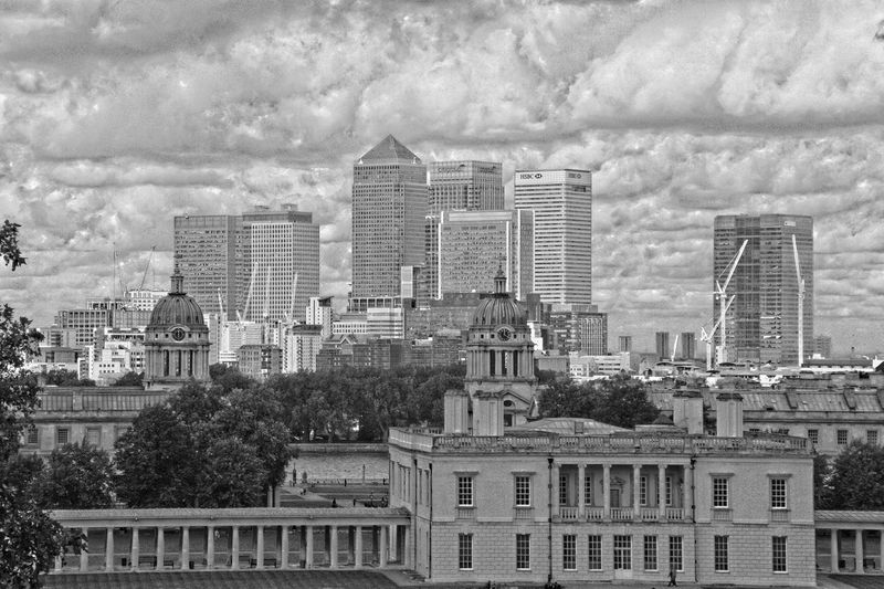 Architecture Building Exterior Built Structure Canary Wharf Capital Cities  City Greenwich London Modern Architecture Old Buildings Old Royal Naval College Queen's House River Thames Skyscraper Tall Thames HDR Hdr_Collection Black And White Monochrome Beautiful View Sky And Clouds Sky Canon Eos 350d Fine Art Photography