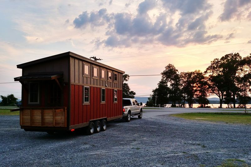 Trailer Home On Road At Sunset