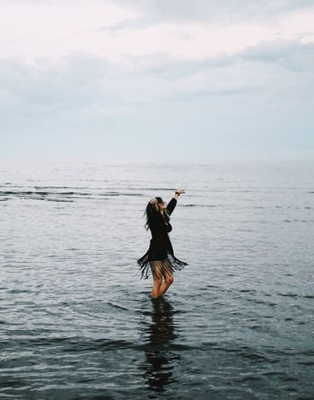 Closer Water Sea One Person Nature Waterfront Standing Sky Horizon Over Water Outdoors Beauty In Nature Full Length Real People Women Scenics One Woman Only People Summer Exploratorium