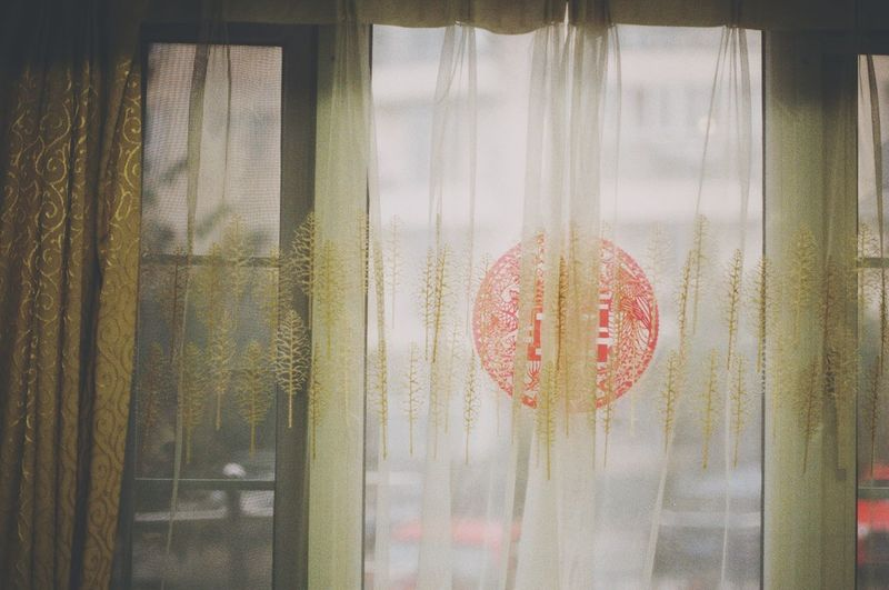 Window Curtain Glass - Material Hanging Looking Through Window Heart Shape Indoors  Close-up Day No People Love Celebration Retail