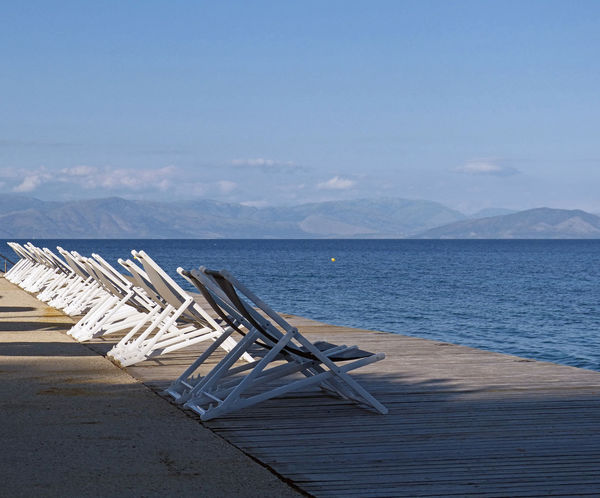 Agios Ioannis Beach Corfu Horizon Over Water Mediterranean  No People Outdoors Panorama Scenics Sea Sea And Sky Seascape Sunchair Water