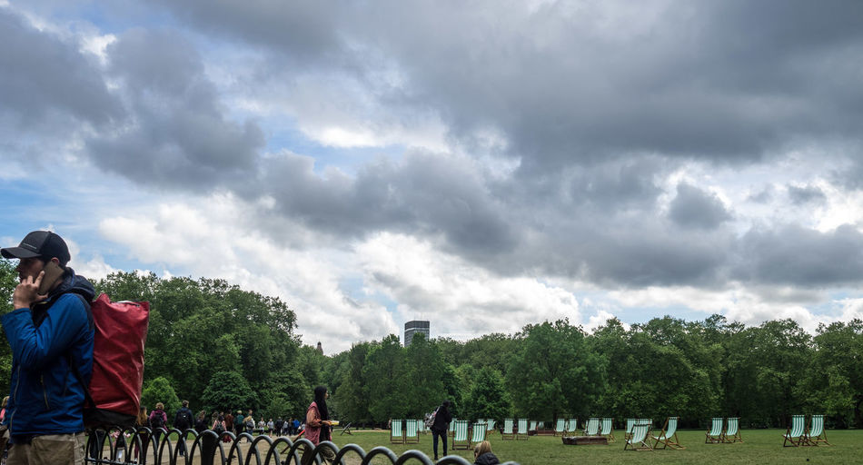 Long sky Adult Adults Only Cloud - Sky Day Large Group Of People Lifestyles Men Nature Only Men Outdoors People Real People Rear View Sky St James Park London  Tree
