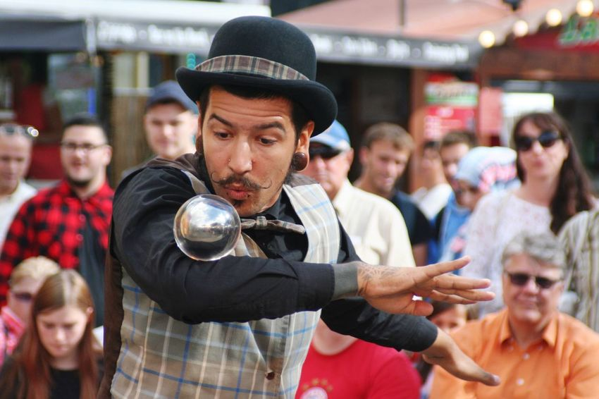 Buskers Street Theatre Show Contact Juggling Artist Street Performer