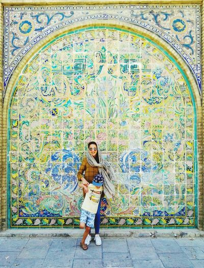 Multi Colored Pattern Mosaic One Person Casual Clothing One Woman Only People Adults Only Full Length Tile Only Women Day Adult Sitting Architecture Real People Portrait Indoors  One Young Woman Only Tehran, Iran Golestan Palace Museum