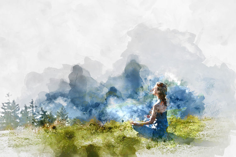 Young woman practice yoga. Digital watercolor painting Meditating Meditation Nature Practice Relaxing Sitting Watercolour Woman Digital Art Digital Illustration Digitally Altered Digitally Generated Digitally Generated Image Harmony Illustration Lotus Meditate Mountains One Person Outdoors Summer Watercolor Watercolor Painting Watercolour Painting Women