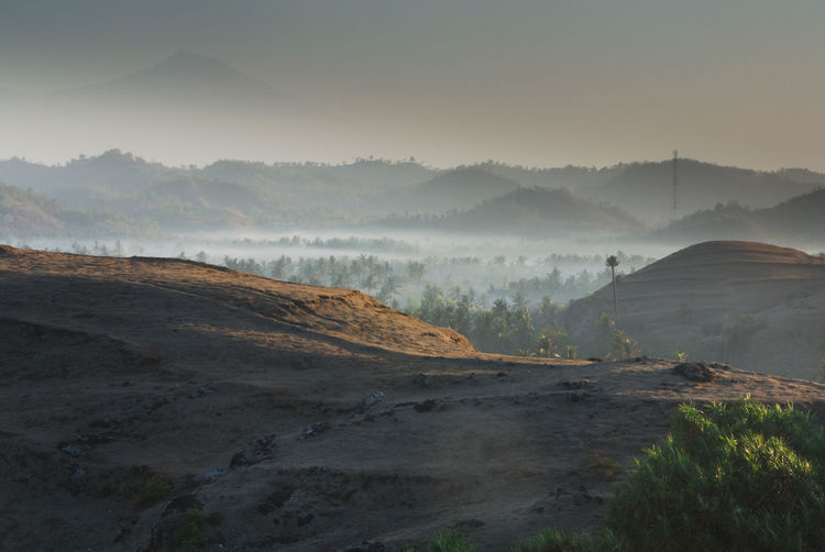 Misty morning at lombok, with rinjani mountain at background