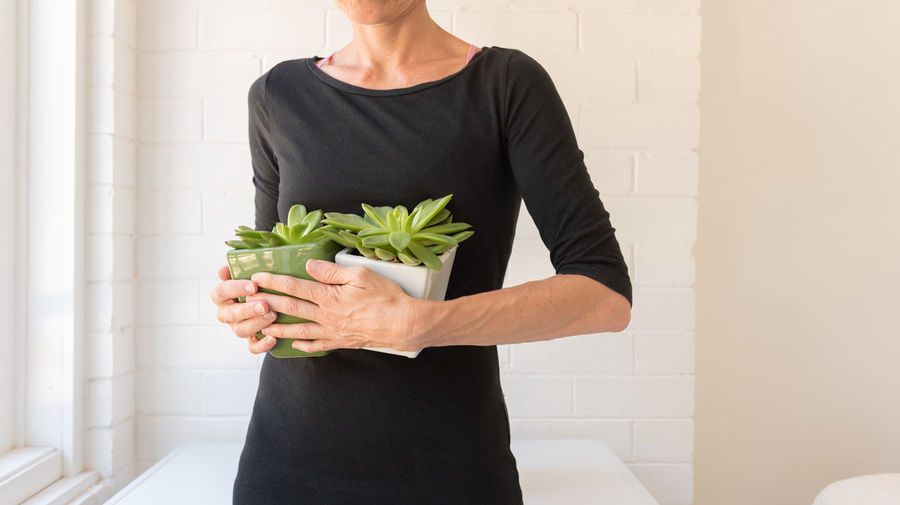 Woman holding succulent plants in pots One Person Standing Lifestyles Casual Clothing Holding Midsection Front View Indoors  Real People Plant Women Adult Leisure Activity Wall - Building Feature Freshness Nature Leaf Home Interior Succulent Plant