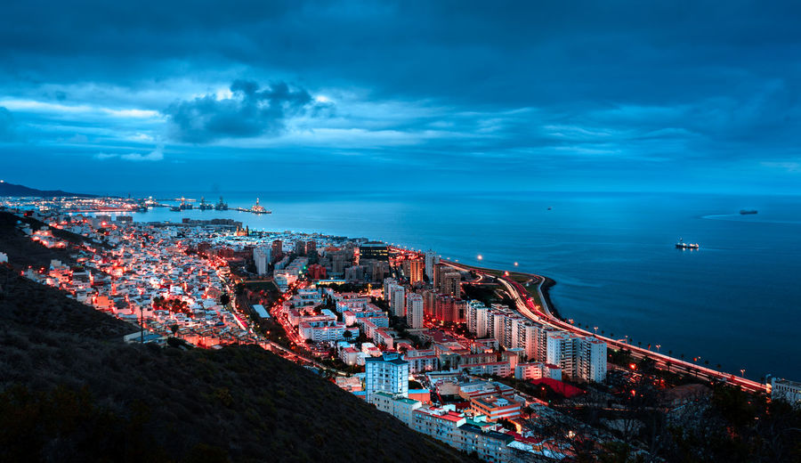City Night Cloudy Water Longexposure GranCanaria Colourful Sea Sky Cloud - Sky Architecture Building Exterior Built Structure Nature High Angle View Transportation Scenics - Nature No People Cityscape Nautical Vessel Blue Horizon Over Water Beauty In Nature Outdoors