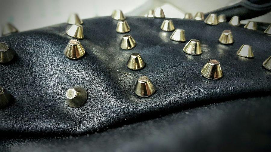 Cuero Leather Leather Bag Cuero Ecologico Tachas Tachas Doradas Leather Craft Bag Fashion