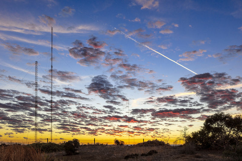 Vapor Trail Cloud - Sky Sky Tranquil Scene No People Landscape Sunrise Radio Transmitter
