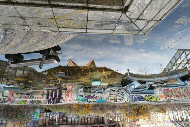 Urbex Germany Berlin: Abandoned Blub Building Exterior Built Structure Ehem. Blub Badeparadies EyeEm Abandoned EyeEm_abandonment Graffiti Horizontal Symmetry My Fuckin Berlin Neulich In Neukölln No Edit/no Filter Paving Stone Reflection Reflections The Purist (no Edit, No Filter) Upside Down Urban Exploration Urbex Urbex_prestigious Urbex_supreme Urbexexplorer Urbexphotography Water Reflections