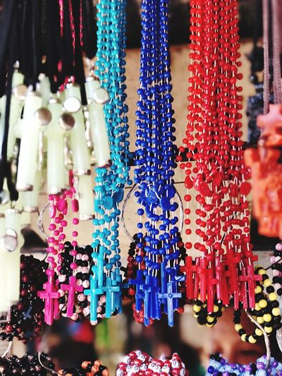 The Rosary Sulangan Church For Sale Variation Market Multi Colored Market Stall Focus On Foreground