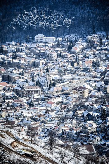Building Exterior Cityscape Architecture Winter High Angle View City Built Structure Residential Building House Crowded Cold Temperature Snow Outdoors Nature Day Scenics Old Buildings Brasov Romania Aerial View