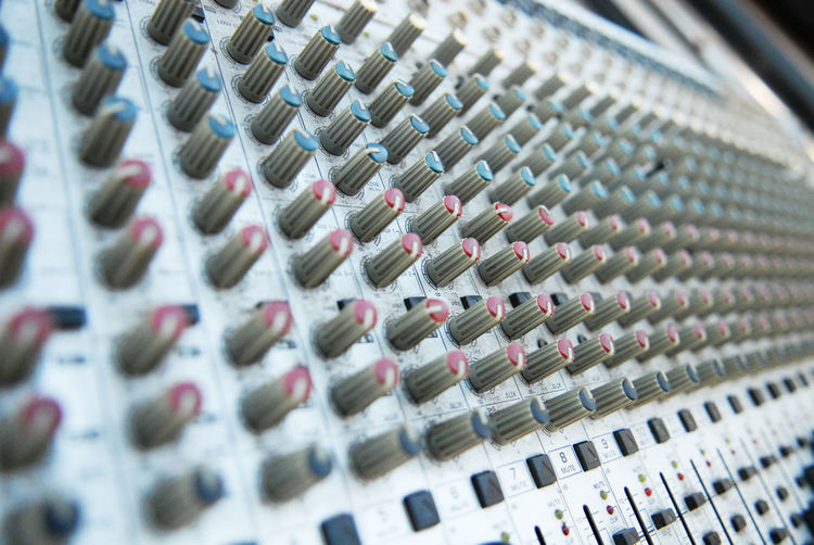Full frame shot of sound mixer in recording studio