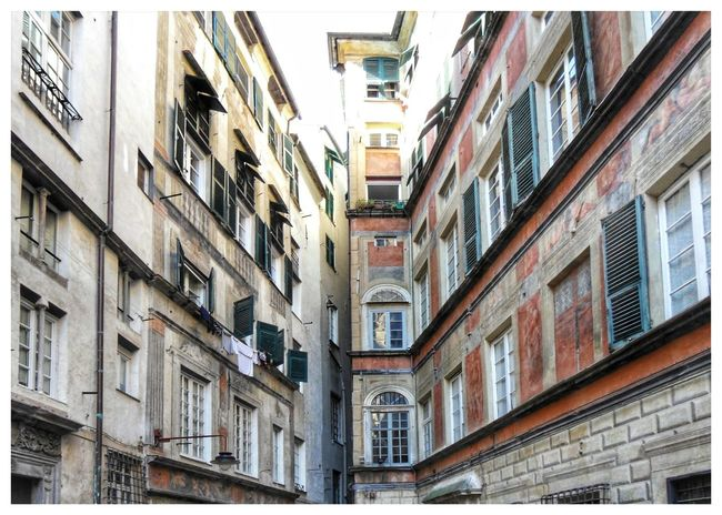 Architecture Built Structure Building Exterior Low Angle View No People Balcony Outdoors Day Piazzetta Square Alleway Caroggi Vicoli Di Genova Genoa Houses Palazzi Perspective Punto Di Fuga
